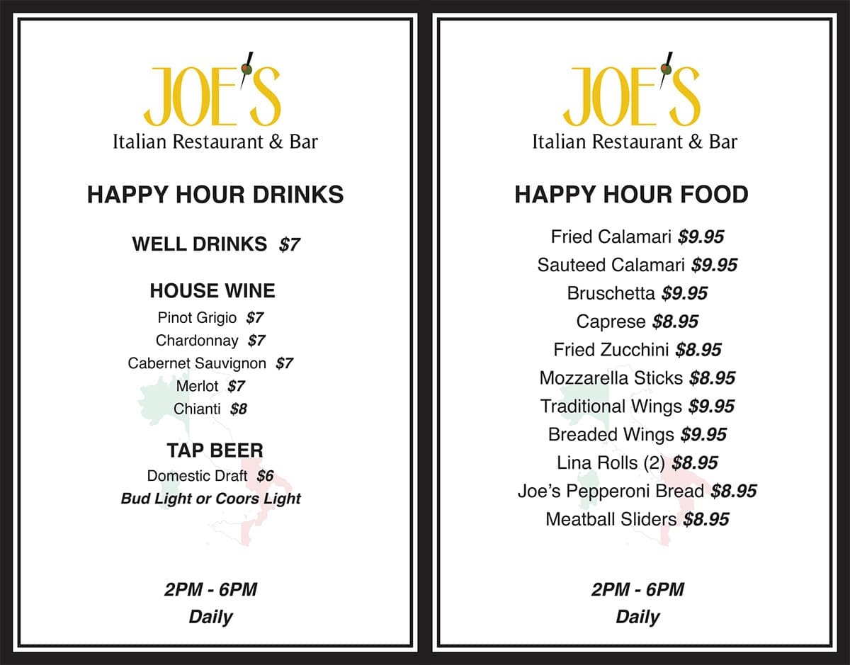 Joe's Italian Restaurant and Bar Ladera Ranch, CA Happy Hour Menu